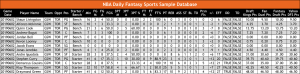 NBA Basketball Daily Fantasy Sports DFS Sample Database OddsWarehouse